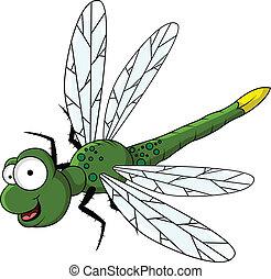 divertente, verde, cartone animato, libellula