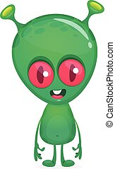 divertente, verde, cartoon., carattere, vettore, straniero, isolato, illustrazione