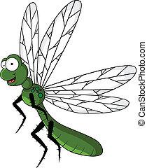 divertente, verde, libellula, cartone animato