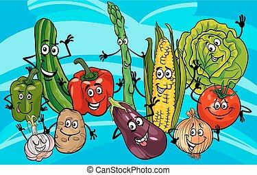 divertente, verdura, gruppo, cartone animato, illustrazione