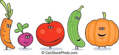 divertente, verdura, symbols., cartone animato