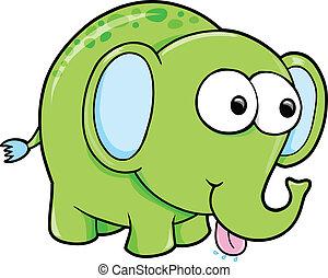 divertente, vettore, sciocco, animale, elefante