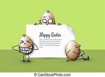 divertente, vettore, uova pasqua, -, felice, verde, pasqua, scheda