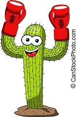 divertente, vincitore, carattere, isolato, pugile, vettore, guanti, cactus, cartone animato