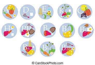 divertente, vitamina, icone, cibo, -, tavola