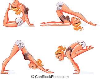 divertente, yoga, cartone animato, pose., carattere