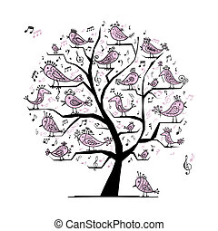 divertido, árbol, aves, diseño, canto, su