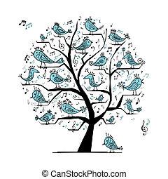 divertido, árbol, con, canto, aves, para, su, diseño