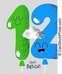 divertido, 12, regalo, número, cumpleaños, globos, tarjeta,...