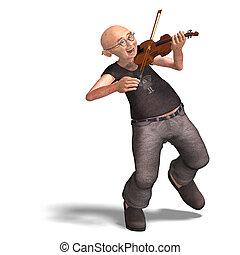 divertido, 3º edad, juegos, violín