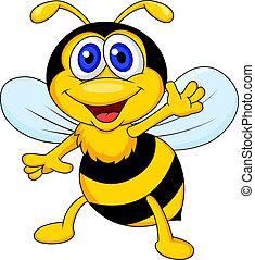 divertido, abeja, caricatura, ondulación