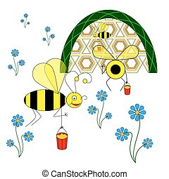 divertido, abejas, flujo, néctar, recoger