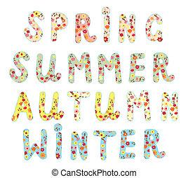divertido, alfabeto, etiquetas, nombres, floral, estaciones