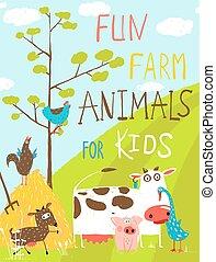 divertido, animales, colorido, granja, doméstico, saludo, ...