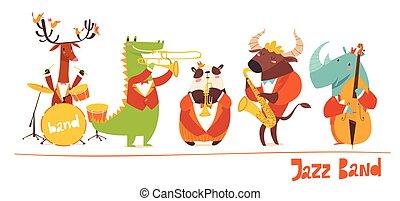 divertido, animales, jazz, characters., vector, música, músicos