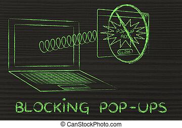 divertido, anuncio, obteniendo, primavera, pop-ups:, ventana, bloqueo, bloqueado
