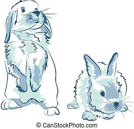 divertido, azul, conejos