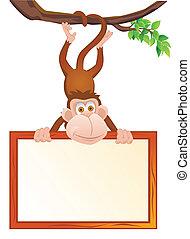 divertido, blanco, mono, señal