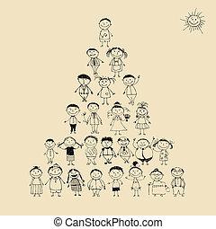 divertido, bosquejo, pirámide, familia , grande, juntos, sonriente, dibujo, feliz