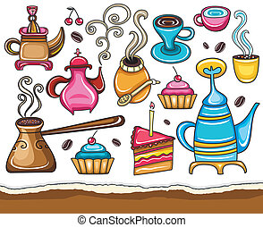 divertido, café, compañero, té, conjunto
