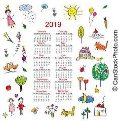 divertido, calendario, niños, dibujos, ilustración