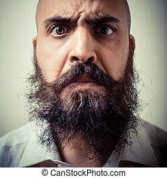 divertido, camisa, largo, blanco, hombre, bigote, barba