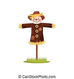 divertido, camisa, marrón, paja, vestido, hat., cara, vector...