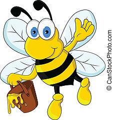 divertido, carácter, caricatura, abeja