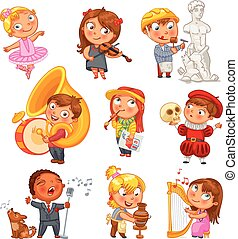 divertido, carácter, caricatura, hobbies.