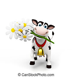 divertido, carácter, vaca