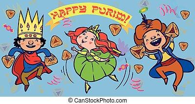 divertido, card., saludo, ilustración, purim, vector, feliz