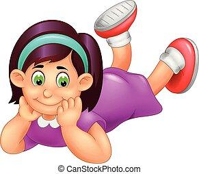 divertido, caricatura, abajo, cara sonriente, niña