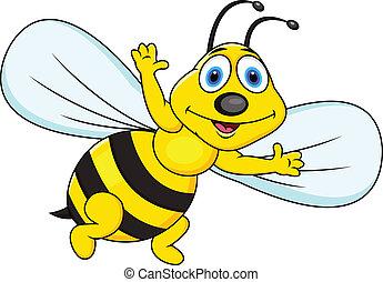 divertido, caricatura, abeja
