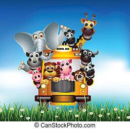 divertido, caricatura, animal, coche amarillo
