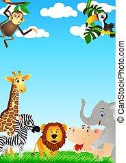 divertido, caricatura, animal