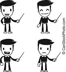 divertido, caricatura, ayudante, hombre