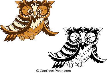 divertido, caricatura, búho, pájaro, en, contorno, estilo