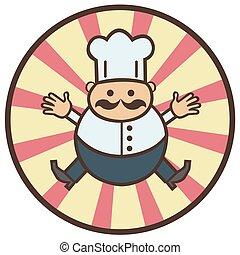 divertido, caricatura, cocinero
