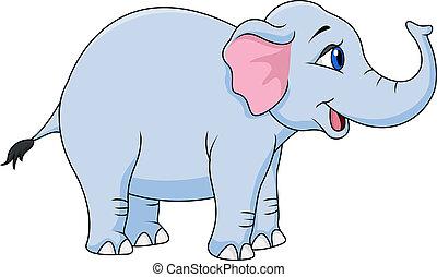 divertido, caricatura, elefante