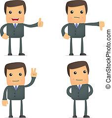 divertido, caricatura, hombre de negocios, asimiento, pulgar...