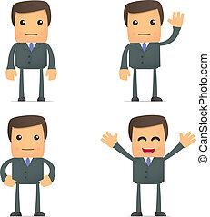 divertido, caricatura, hombre de negocios