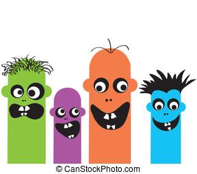divertido, caricatura, monstruos