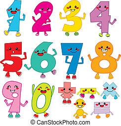 divertido, caricatura, números
