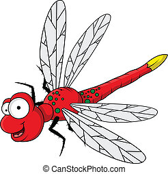divertido, caricatura, rojo, libélula