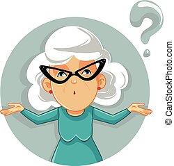 divertido, caricatura, vector, ilustración, encogimiento, abuelita
