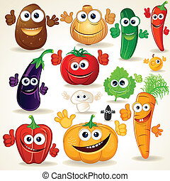 divertido, caricatura, vegetales, imágenesprediseñadas