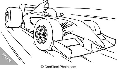 divertido, carrera, arte, coche, ilustración, child's, vector, fórmula, caricatura