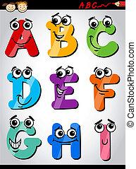 divertido, cartas, caricatura, ilustración, alfabeto