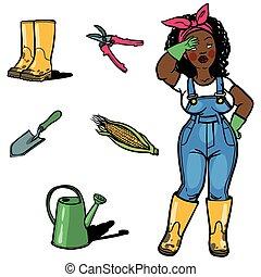 divertido, cartton, jardinero, y, jardines, herramientas