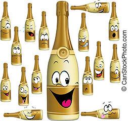 divertido, champaña, caricatura, botella